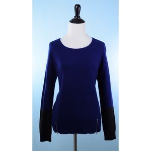 EILEEN FISHER blue black sweater with Zip Detail